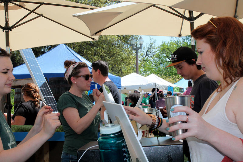 Schlafly had a steady stream of customers at the Earth Day festival, where they serve a limited-time offering of an organic IPA.
