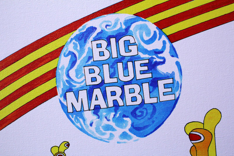 Campbell also worked on the show Big Blue Marble which introduced children from around the world to kids from different cultures. The image displays a large painting of the earth and a red and yellow rainbow.