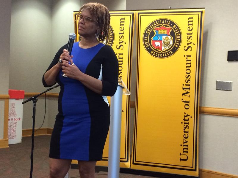 Cheryl Walker leading the presidential search forum at UMSL