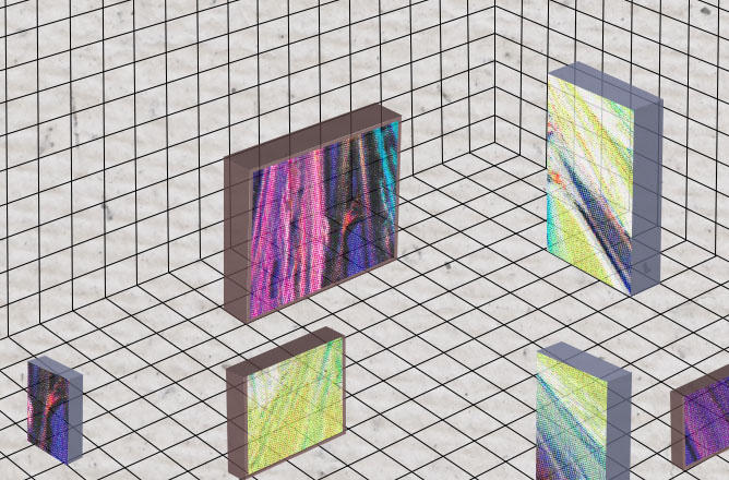 Image of gridded room with free-floating squares that look like screens into another universe.