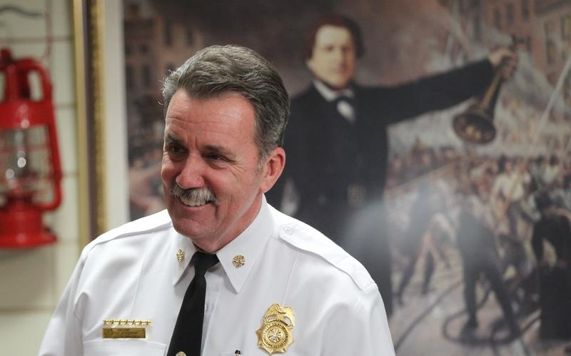 St. Louis fire chief, Dennis Jenkerson, is all smiles on April 6, 2016 after city voters overwhelmingly approved the earnings tax and a bond issue.
