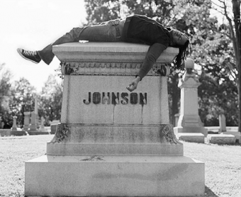 Rashid Johnson, Self Portrait Laying on Jack Johnson's Grave, 2006. Lambda print, 40 1/2 x 49 1/2. Collection of Dr. Daniel S. Berger, Chicago.