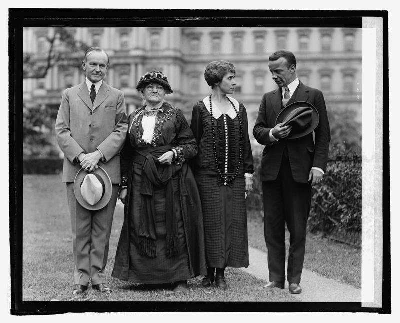 President Calvin Coolidge, left, with Mother Jones, Mrs. Coolidge and Theodore Roosevelt Jr. at the White House in 1924