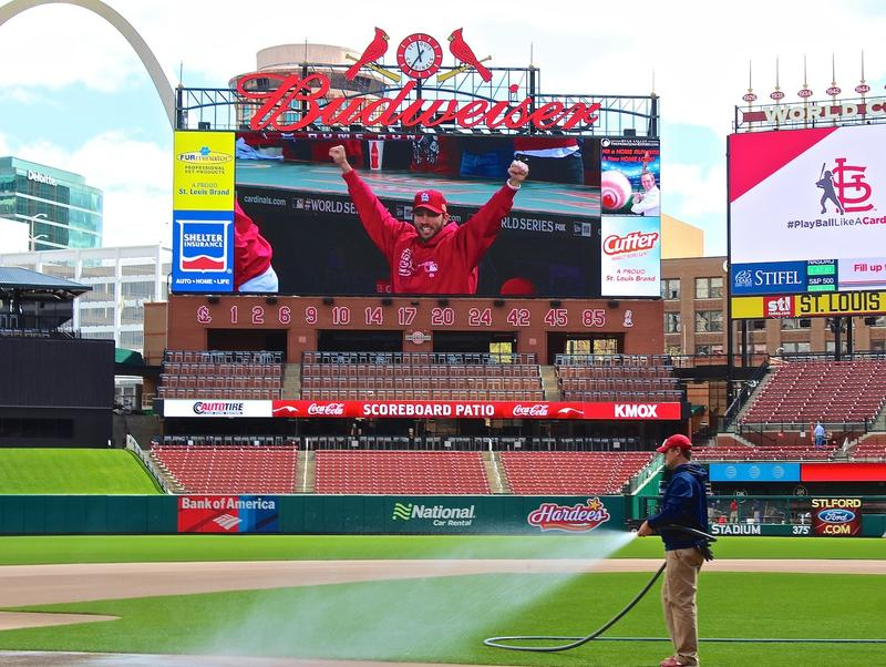 Updates at the 10-year-old Busch Stadium include an enhanced video screen on the main scoreboard.