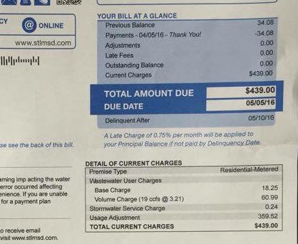 Shona Scott's sewer bill has a $359 adjustment for under-billing.