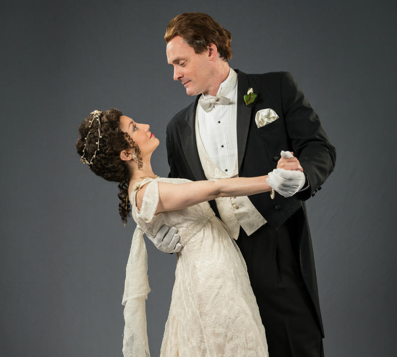 Eliza Doolittle (Pamela Brumley) and Henry Higgins (Christopher Guilmet)