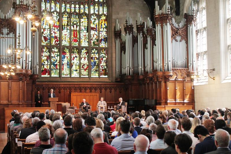 Students, faculty and guests listen to U.S. Supreme Court Justice John Paul Stevens at Graham Chapel on the campus of Washington University on April 25 2016