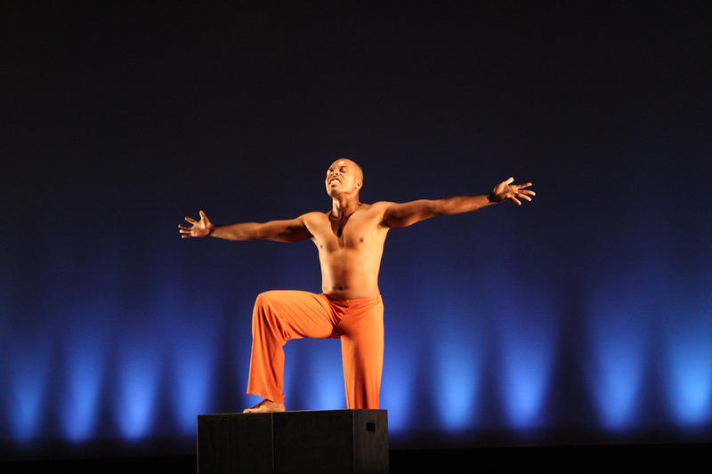 Tony Marr incorporated his theater major into his dance solo for UMSL dance's final concert.