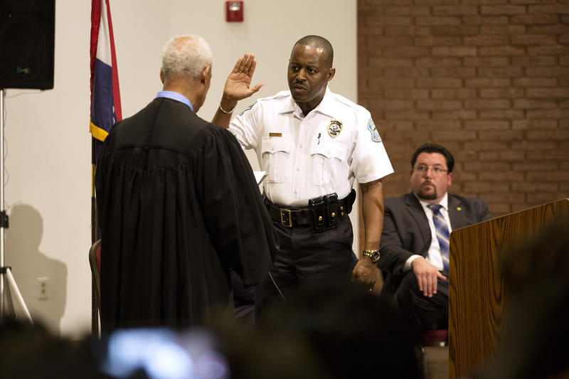 Delrish Moss is sworn in as Ferguson's new police chief at a ceremony at the Ferguson Community Center.