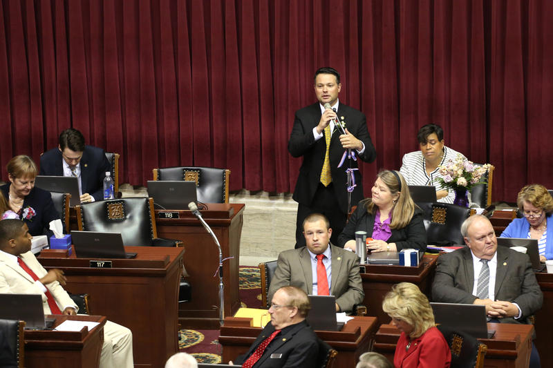 House Minority Leader Jake Hummel, D-St. Louis, speaks on the House floor before the end of the legislative session.