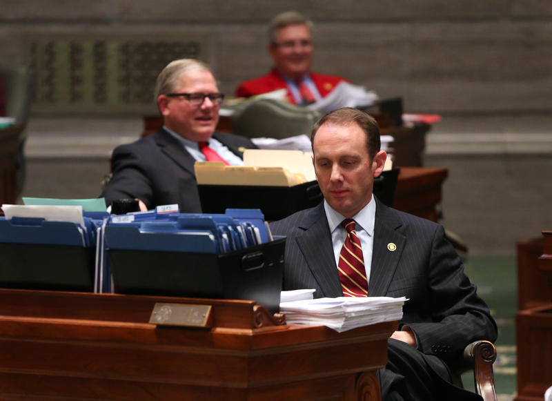 Sen. Scott Sifton, D-Affton, listens as fellow senators thank each other for their work.