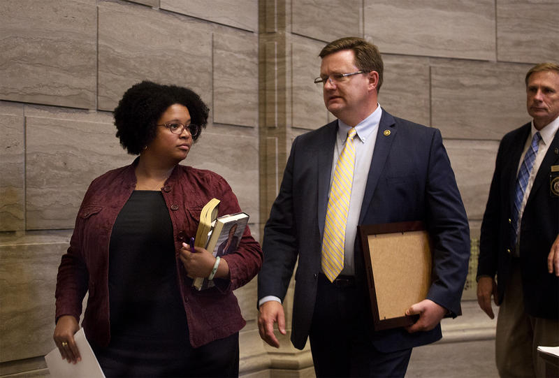 Sen. Maria Chappelle-Nadal walks out of the Senate chamber as the Senate adjourns for the session earlier this year in Jefferson City.