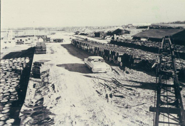 The temporary waste disposal site near Lambert Airport. After World War II, federal contractors stored drums of residue, barium sulfate cake and contaminated scrap created as Mallinckrodt refined uranium for the atomic bombs.
