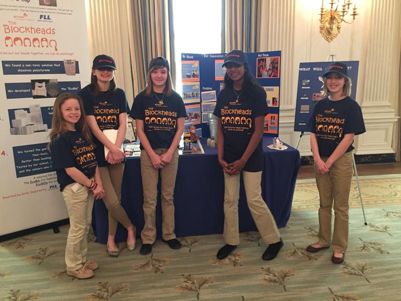 Reagan Mattison, Christina Yepez, Julianna Jones, Sindhu Bala and Sydney Gralike, stand with their project at the White House Science Fair.
