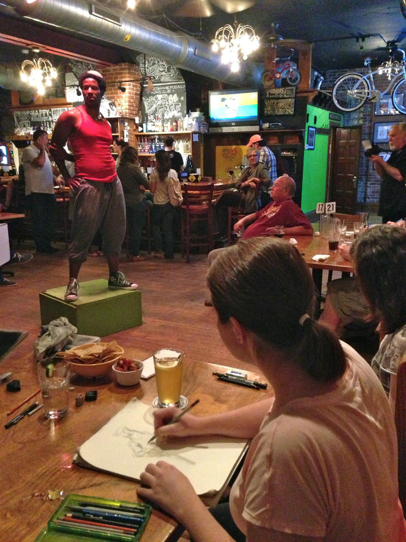Posing for a Drink and Draw session at the Handlebar