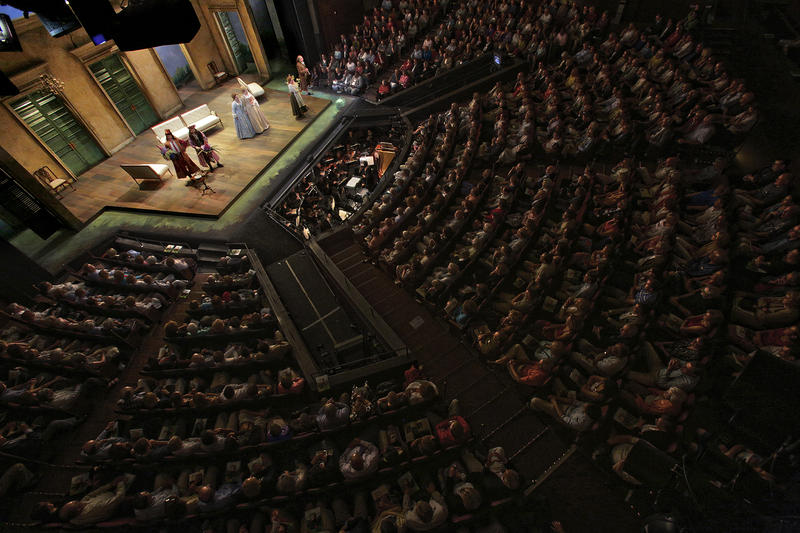 A crowd takes in a performance at the Opera Theatre of St. Louis.