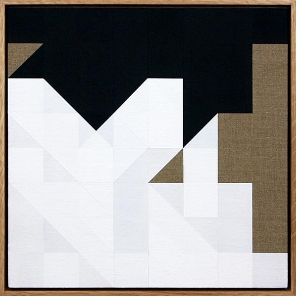 Tom Hackney, Chess Painting No. 71, (Marcel Duchamp vs. E.H. Smith, Hyéres, 1928), 2016, Gesso on linen, oak frame 16 ½ x 16 ½ in.