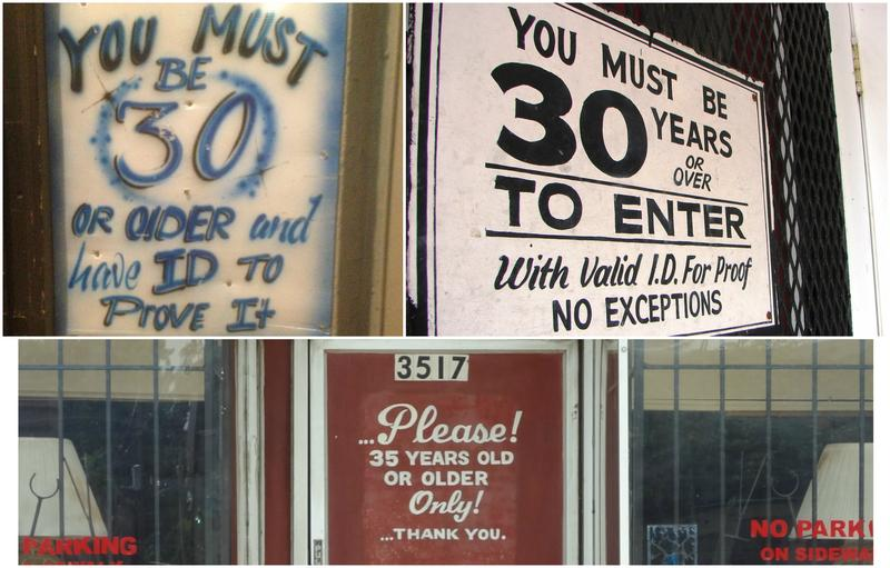 Clockwise from top left, Valleries' Sit & Sip, CW's Lounge and Zodiac Lounge are among many establishments in the St. Louis area that bar entry to younger adults.