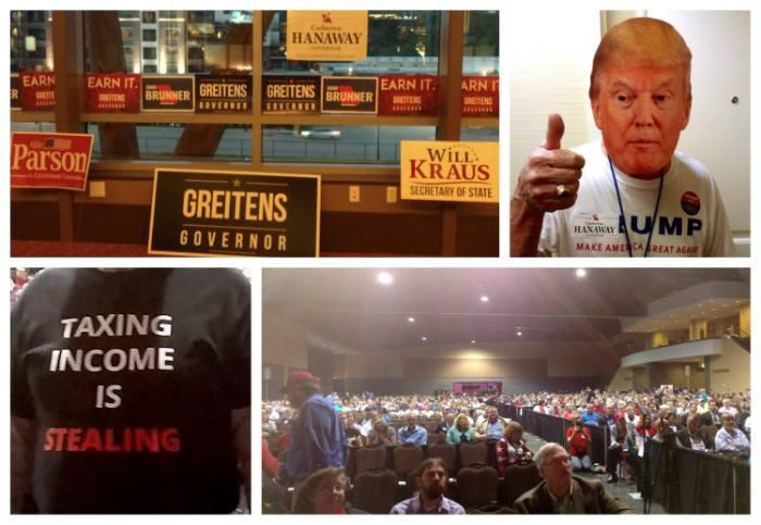 Scenes from the state Republican convention from upper left: Campaign signs, a Trump mask, message T-shirt and the convention hall