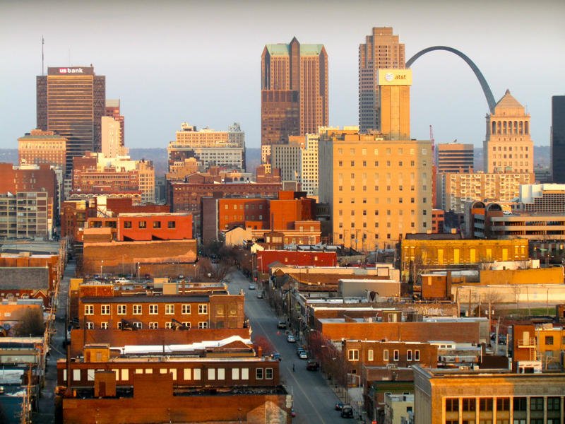 Downtown St. Louis,  looking east
