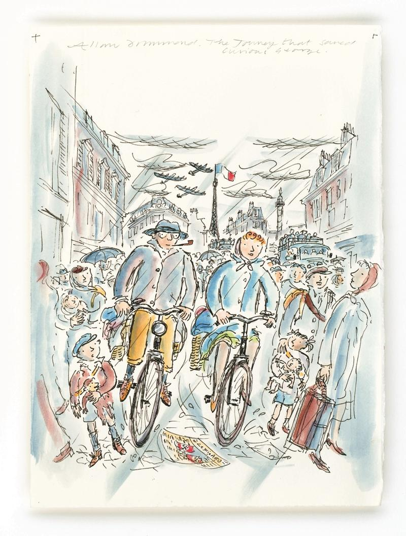 Allan Drummond, Escape from Paris, 2005, modern reproduction of watercolor and ink on paper, 14 3/4 x 10 7/28 inches, courtesy Allan Drummond and Institute for Holocaust Education, Omaha, Neb.