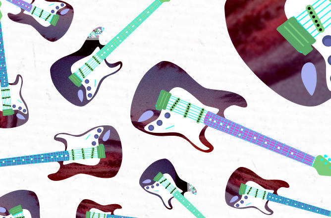 A series of Stratocaster style guitars rendered in dark purples and bright greens splashes across the page.
