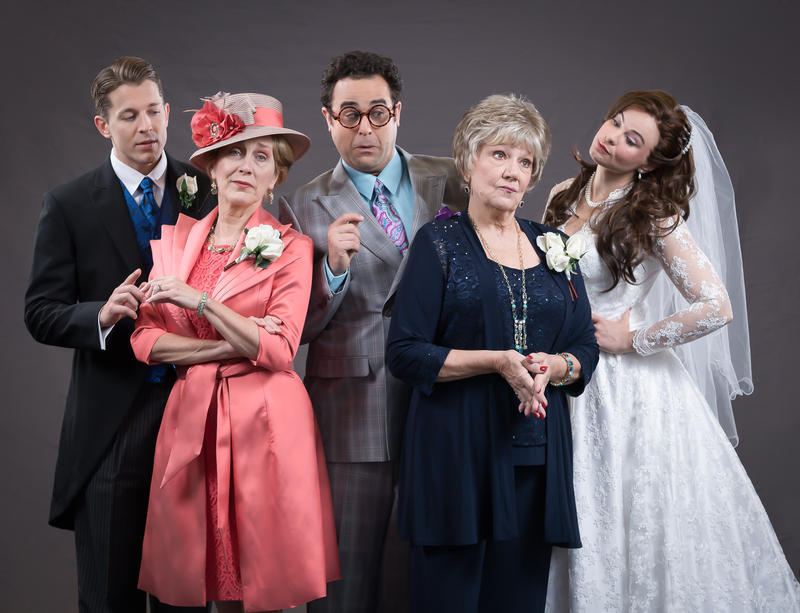 "From left: Jeff Sears (Brian Howard), Kari Ely (Georgette Howard), Edward Juvier (Albert), Zoe Vonder Haar (Judy Steinberg), and Stacie Bono (Rebecca Steinberg) in STAGES' 2016 production of ""It Shoulda Been You."""