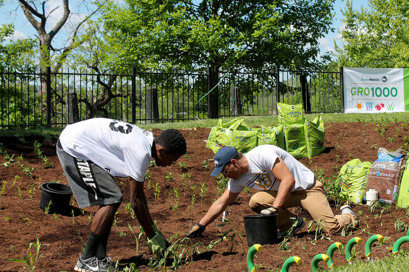 John Burroughs seniors Garrett Moore and Hunter Wilkins plant milkweed at Bellerive Park on Wednesday, May 4, 2016.