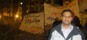 Morris Kalliny near demonstrators at Tahir Square in Cairo this past December.