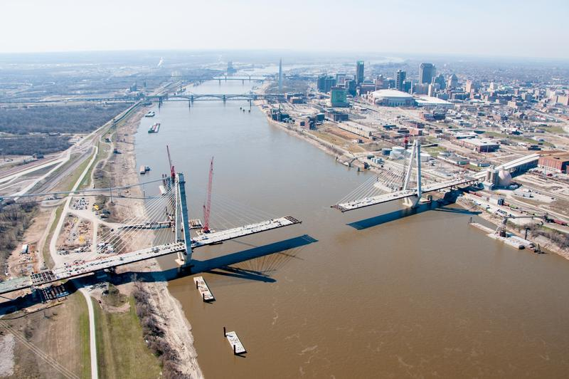 An aerial photo of the new bridge under construction in April 2013.