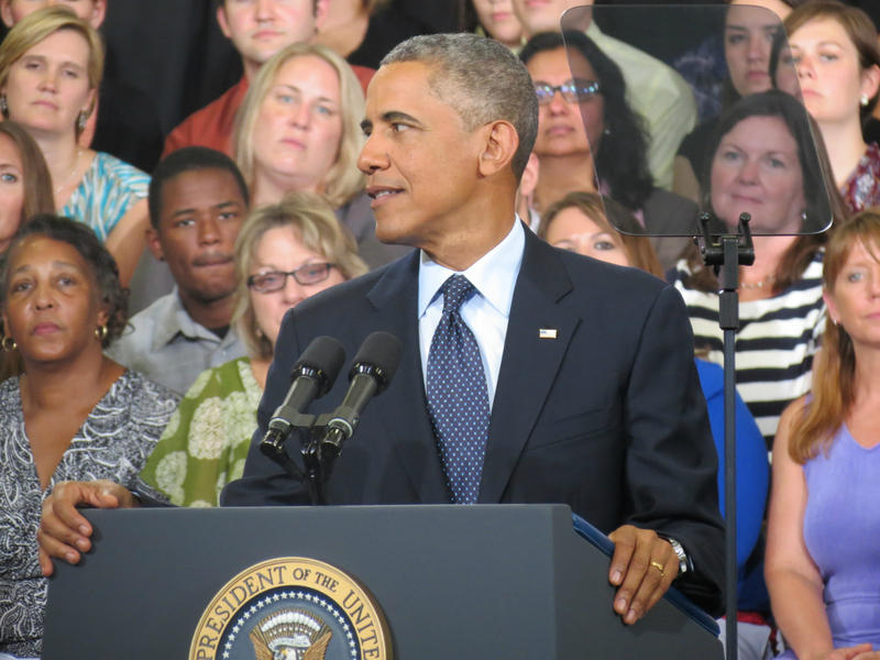 President Barack Obama speaks at Knox College in Galesburg, Ill.