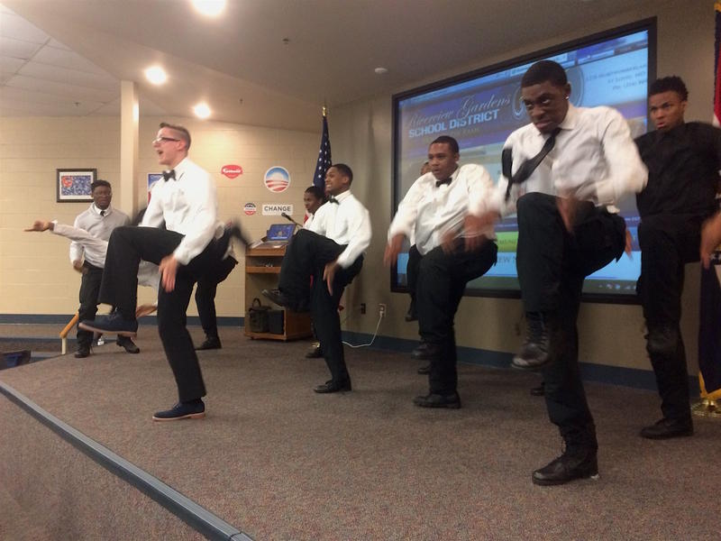 Riverview Gardens students entertain before Thursday night's state hearing, May 5, 2016