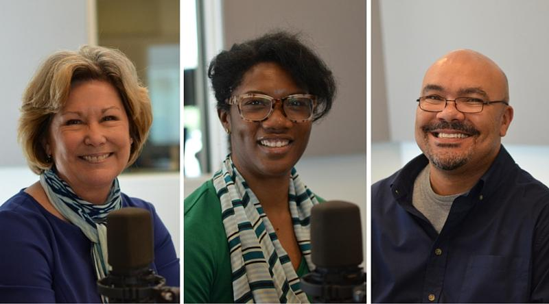 "Facilitators from the National Conference for Community and Justice-St. Louis joined St. Louis on the Air to dicuss ways to ""interrupt racism."" Left to right: Sally Beth Lyon, Stefani Weeden-Smith and Dewitt Campbell."
