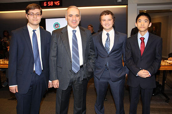 Sam Sevian, Garry Kasparov, Kayden Troff and Jeffery Xiong at the KCF Gala last year. Credit: Kasparov Chess Foundation