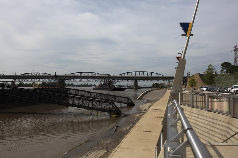 The riverfront has been elevated by about two feet to reduce flooding