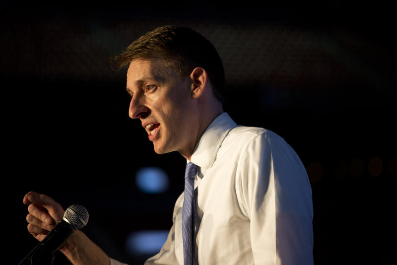Jason Kander speaks at the Missouri Democratic Party's annual dinner, the Truman Dinner, at Busch Stadium.