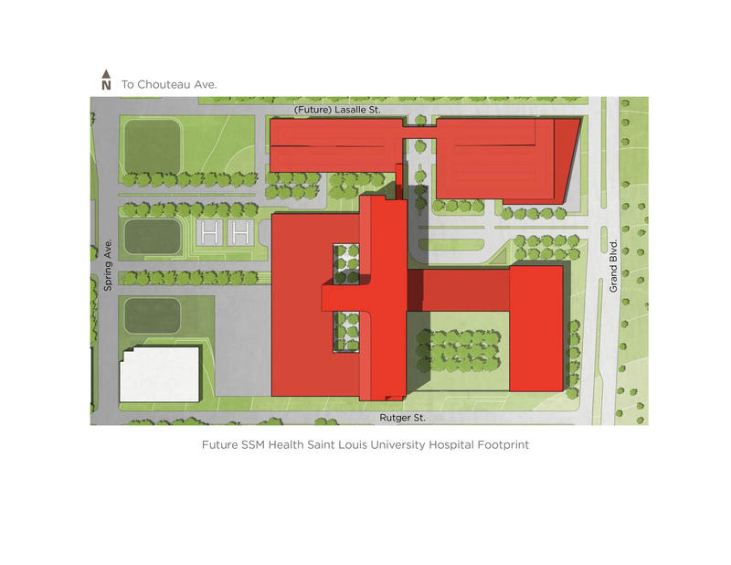 A map provided by SSM Health shows the planned location for the new medical center, just north of the existing St. Louis University Hospital.