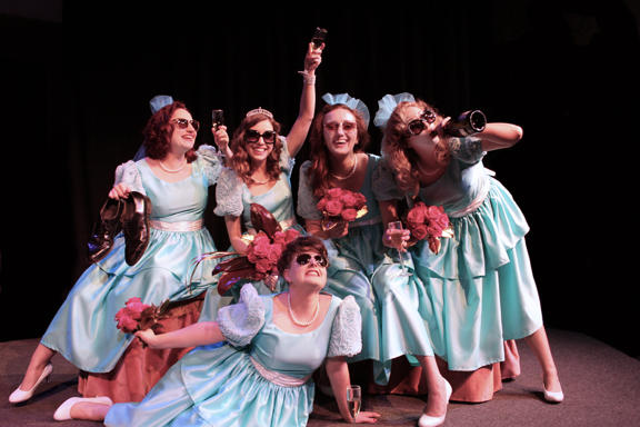 On the floor: Lindsay Gingrich (Meredith). Back, left to right: Sarajane Alverson (Trisha), Eileen Engel (Frances), Frankie Ferrari (Mindy), Shannon Nara (Georgeanne). The sashes were changed from pink to white in the final rendition of the costume.