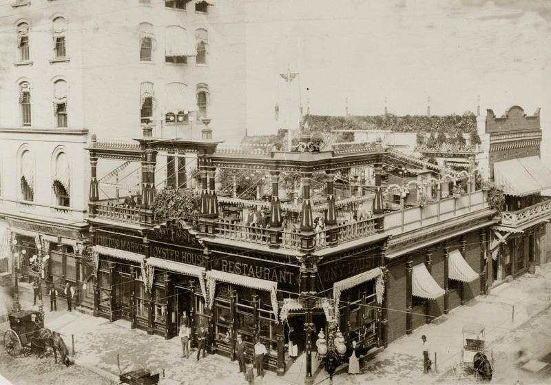 Tony Faust's Oyster House and Restaurant, at the corner of Broadway and Elm Street, closed June 30, 1916.