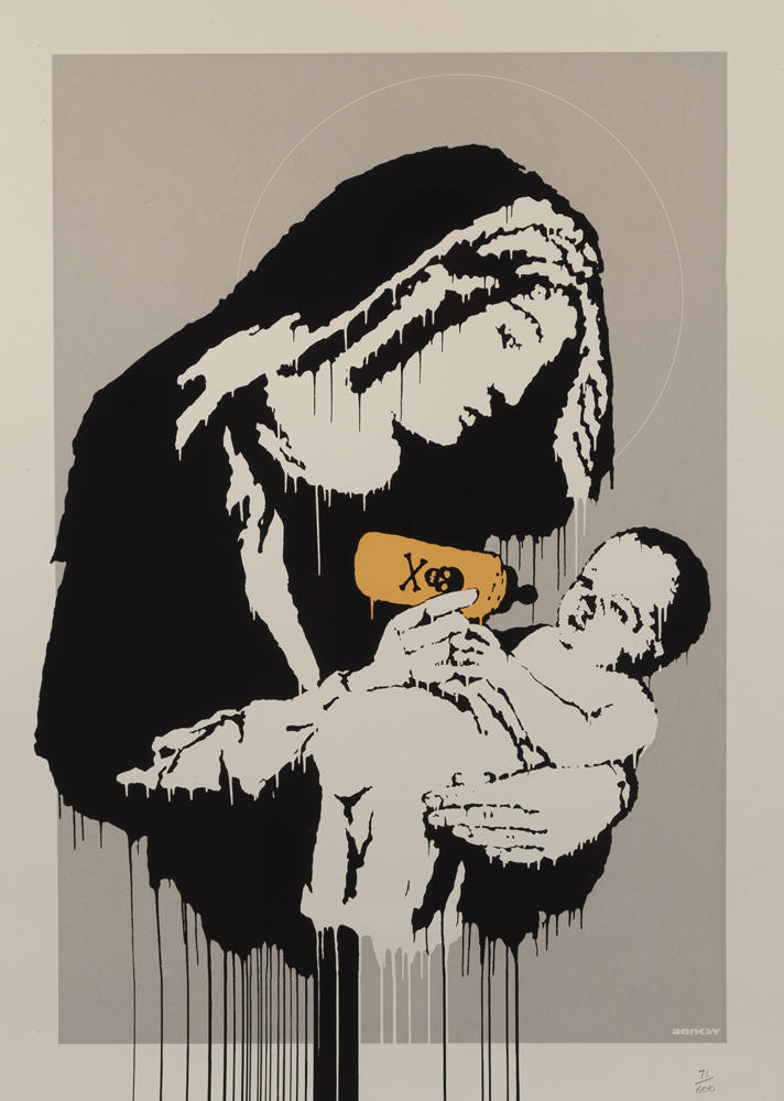 Toxic Mary by Banksy starts at a range of $7,000 to $9,000.