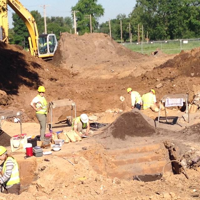 Archeologists have found several structures from the 1800s, including cellars, cisterns and privies. Here they're digging at the corner of 22nd and Market Streets within the future site of the National Geospatial-Intelligence Agency's western headquarters