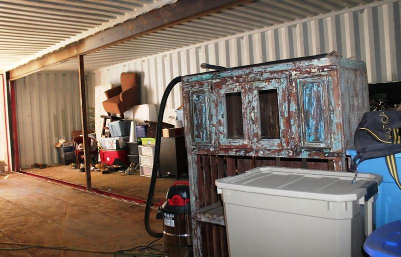 The Smithey's transferred their furniture to one of the containers as they moved out of their old home, before they took the containers to their lot. That way, they wouldn't have to move their belongings twice.
