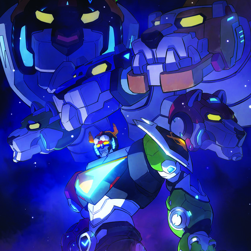Giant robot lions connect in order to form a larger robot humaniod with a sword named Voltron