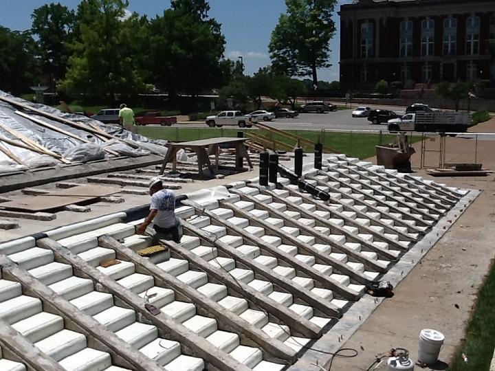 Much of Phase One focuses on restoring the lead sheeting underneath the stone steps on the south side of the Capitol, which have been removed for the time being.