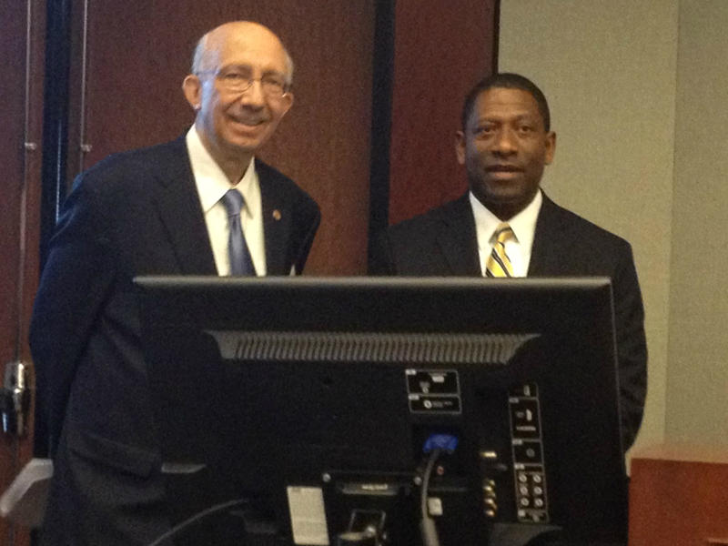 St. Louis County Economic Council President & CEO Denny Coleman and St. Louis Development Corp. executive director Rodney Crim smile before unveiling the regional entrepreneurial Initiative. Economic and political leaders are hoping to raise $100 million