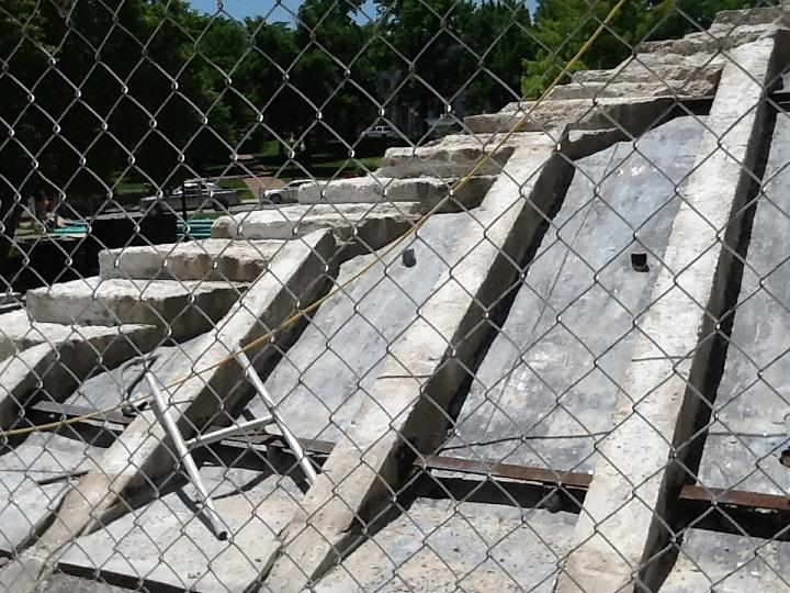 The stone steps on the south side of the Capitol have been removed and numbered, and will be put back in place once repairs to the sheeting are finished.