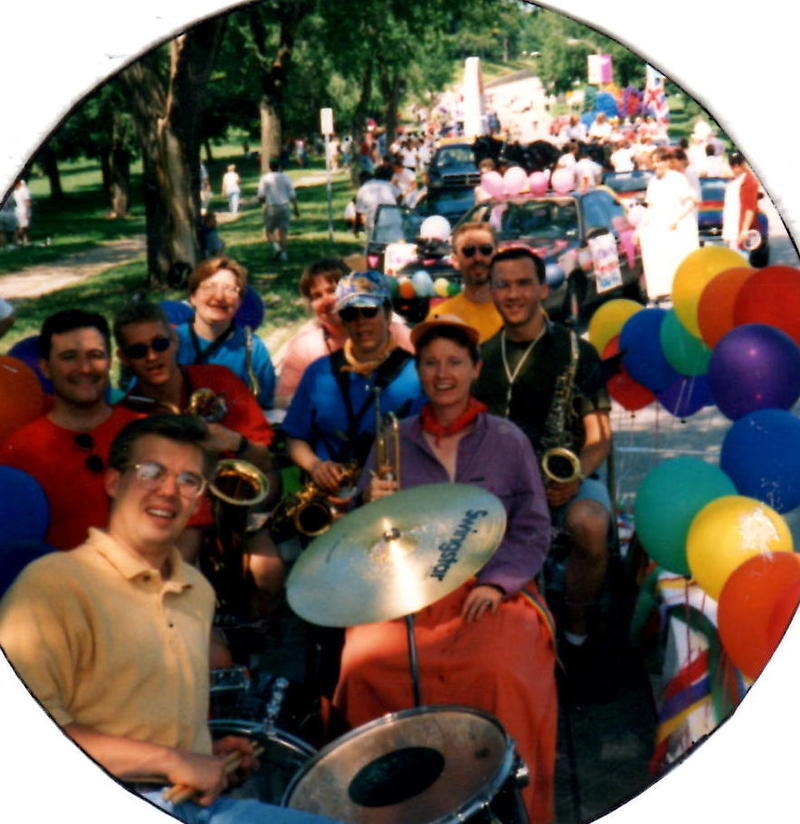 From BandTogether's first Pride Parade in 1997 in the Central West End. Founder Gary Reynolds is on the right in a black shirt with his saxophone.