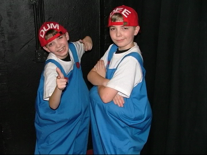 Ryan and Austin Jacobs at the age of 10 playing Tweedledum and Tweedledee in Through the Looking Glass