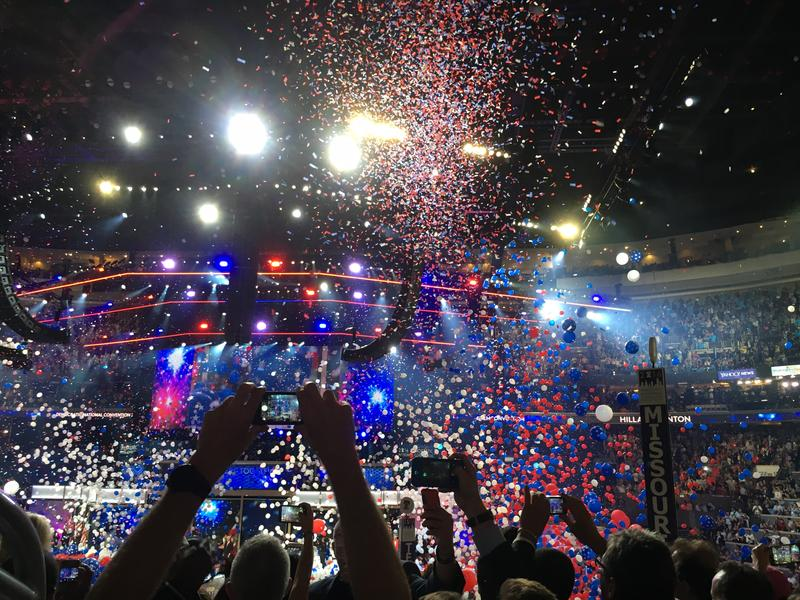 Balloons drop on the Democratic National Convention in Philadelphia.