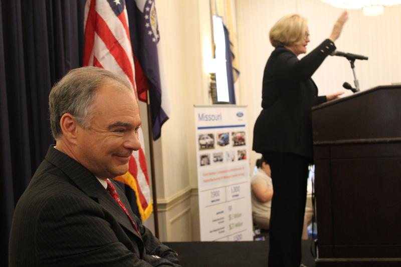 U.S. Sen. Tim Kaine waits by the stage on Thursday as U.S. Sen. Claire McCaskill prepares to introduce him. Kaine was the guest speaker at the Show Me State's Democratic National Convention breakfast.